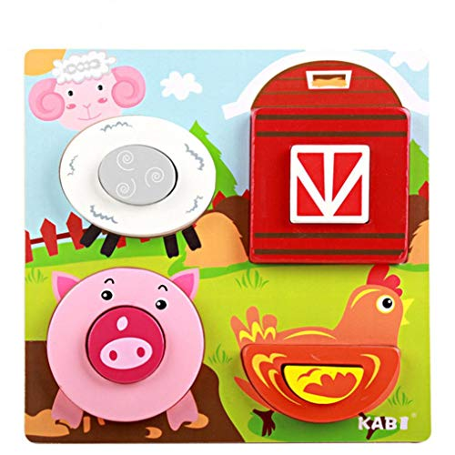 Roysberry Toys Kids Wooden Puzzles Toys Animal Farm 3D Puzzle Shape Color - Birthday Gift Christmas Halloween Toy Jigsaw Puzzles for Kids Ages -