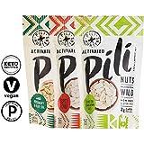 Pili Hunters Pili Nut Keto Variety Pack, Original, Rosemary, Spicy Chili, Paleo, Vegan, Low Carb, 1.85 oz. Bags - 3-Pack