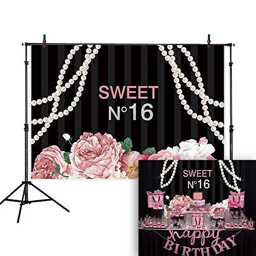 Allenjoy 7x5ft Floral Sweet 16 Backdrop Pink Flowers