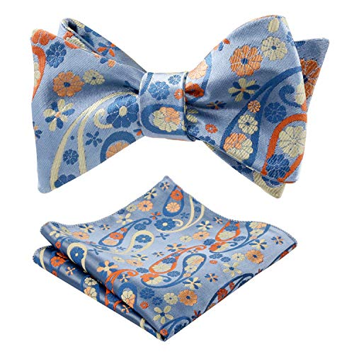 (Alizeal Mens Handmade Floral Self-tied Bow Tie and Pocket Square Set, Yellow+Orange)