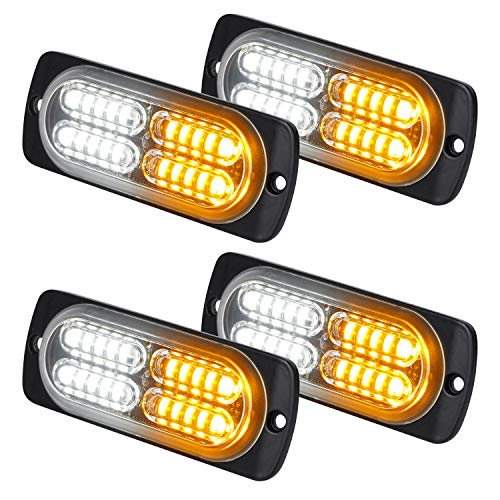 ASPL 4pcs 24-LED Surface Mount Grille Flashing Strobe Lights, Super Bright Mini LED Light-Head Emergency Hazard Warning lights for Construction Vehicle, SUV, Tow Truck Van (Amber/White)