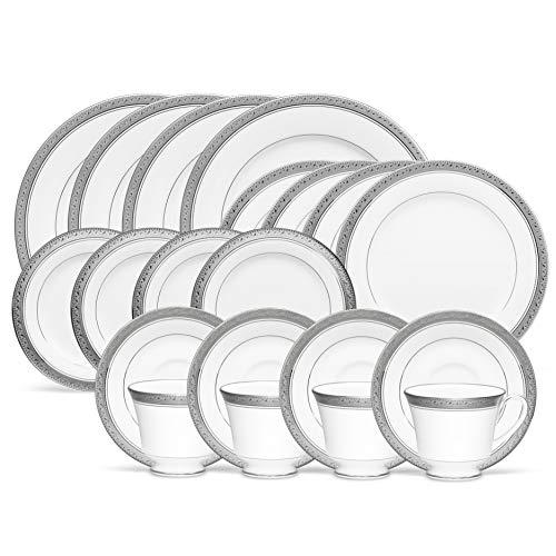 Noritake Crestwood Platinum 20-Piece Dinnerware Place Setting, Service for 4