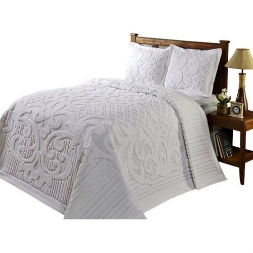 MyEasyShopping King size 100-Percent Cotton Chenille Bedspread in White Bedspread Antique Vintage White Coverlet Hand Crochet Lace (Hand Crocheted Bedspread)
