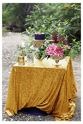 48x48-Inch Square-Sequin Tablecloth-Gold, 2017 New Arrival Sequin Table Cloth/Overlay/Cover Glitz Table Linen - 48 Inch Mesh Table