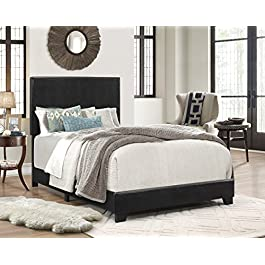 Crown Mark Erin Upholstered Panel Bed in Black,...