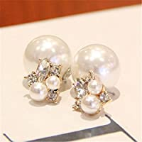 ERAWAN Celebrity Women Gold Plated Double Side Crystal Big Pearl Ear Stud Earrings Gift EW sakcharn