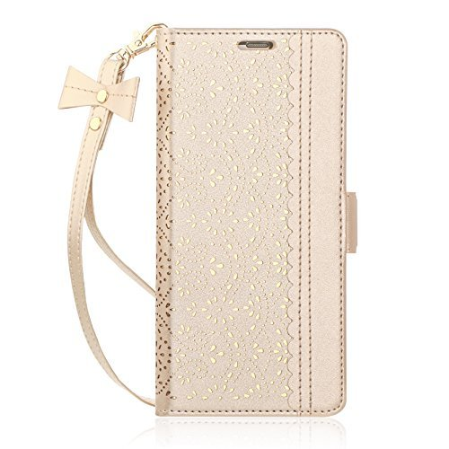 Note 8 Case, Galaxy Note 8 Case, WWW [ Mirror Series] PU Leather Case Kickstand Flip Case with Card Slots and Mirror for Samsung Galaxy Note 8 Gold