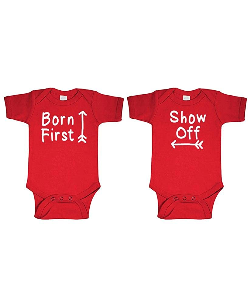 BORN FIRST - SHOW OFF! - twins siblings - TWO Infant Bodysuit COMBO