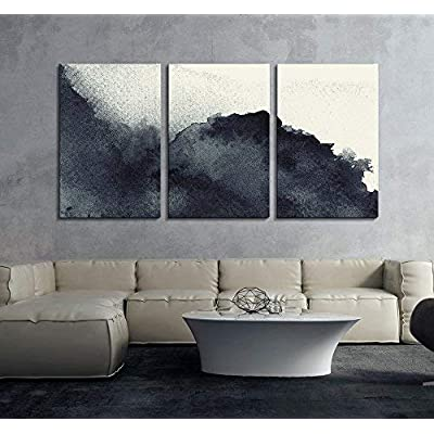 3 Panel Black Ink Painting Style Abstract Artwork x 3 Panels, Crafted to Perfection, Alluring Print