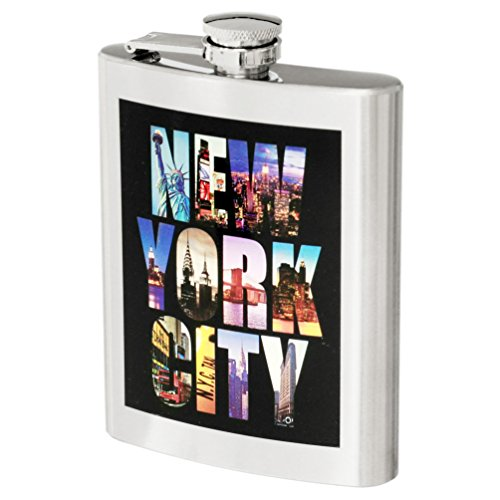 (New York City Color Photo Stainless Steel Hip Flask NY Souvenir Flask - 7 oz)