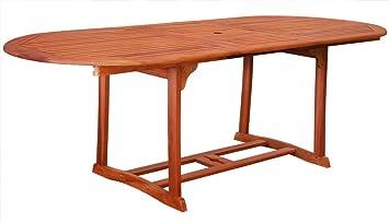 Kmh Ausziehbarer Gartentisch 180 230 100 Cm Aus Eukalyptusholz