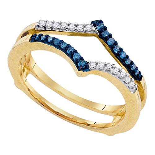 Jewel Tie - Size 7 - Solid 10k Yellow Gold Round Blue Diamond Ring Guard Wrap Enhancer Band (1/5 Cttw.)