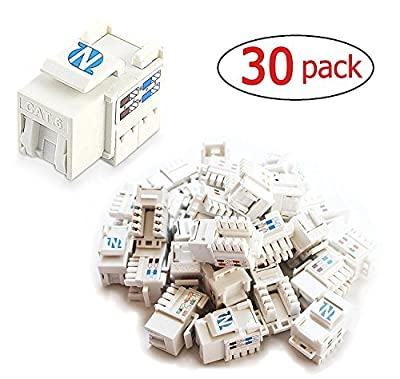 30-Pack Cat6 RJ45 Keystone Jack for wall plate and patch panel by NetEx Quality