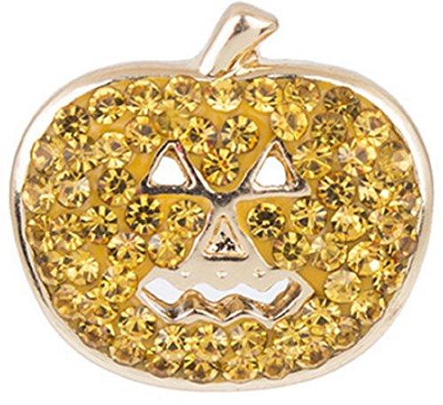 Snap button Crystal jack o lantern Halloween pumpkin Interchangable Jewelry 18mm