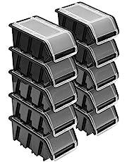 Stapelboxenset - 10 x stapelbox met deksel 155 x 100 x 70 mm - kijkbox stapelbox opslagbox, zwart