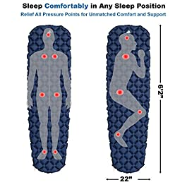 Outdoorsman Lab Sleeping Pad for Camping – Patented Camp Mat, Ultralight (14.5 Oz) – Best Compact Inflatable Air Mattress for Adults & Kids – Lightweight Hiking, Backpacking, Outdoor & Travel Gear