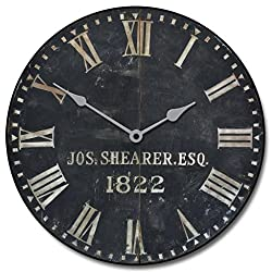 1822 Old Sheriffs Wall Clock, Available in 8 Sizes, Most Sizes Ship 2-3 Days, Whisper Quiet.