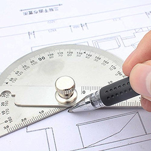 Cacys Store - 0-180 Degree Angle Finder Rotary Ruler Round Head Dual Arm Protractor Adjustable Stainless Steel Measuring For Woodworking Tool by Cacys Store (Image #1)