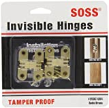 SOSS Mortise Mount Invisible Hinges with 4 Holes, Zinc, Satin Brass Finish, 1-3/4'' Leaf Height, 1/2'' Leaf Width, 23/32'' Leaf Thickness, #6 x 1'' Screw Size (1 Pair)