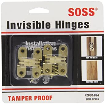 "SOSS Mortise Mount Invisible Hinges with 4 Holes, Zinc, Satin Brass Finish, 1-3/4"" Leaf Height, 1/2"" Leaf Width, 23/32"" Leaf Thickness, #6 x 1"" Screw Size (1 Pair)"
