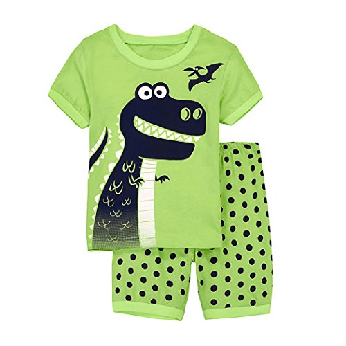 (Toddler Boys Pajamas Sets Cute Dinosaurs 100% Cotton Kids Short Sleeve Summer Sleepwear Clothes Set)