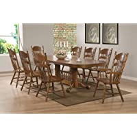 Coaster Brooks 104271SET 9 PC Dining Room Set with Table + 6 Side Chairs + 2 Arm Chairs in Oak