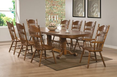 Coaster Brooks 104271SET 9 PC Dining Room Set with Table + 6 Side Chairs + 2 Arm Chairs in - Brooks Oak