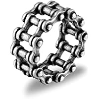 Denvosi Stainless Steel Ring Simple Bike Chain Punk and Rock Biker Ring for Men Size 5-15