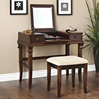 Oh! Home Ariana Beautification Set - Brown Vanity Table, Stool & Flip Top Mirror