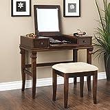 Oh! Home Ariana Beautification Set - Brown Vanity Table, Stool & Flip Top Mirror