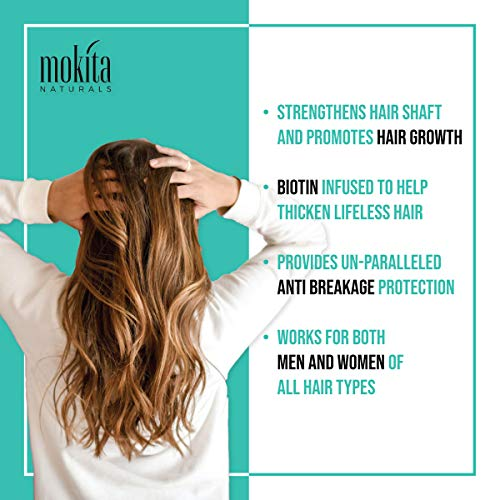 Mokita Naturals Biotin Hair Volumizing Thickening Shampoo, Thinning and Fine Hair, Regrowth Thickening Products for Men Women, Sulfate Free and Vegan Friendly, 8.5 Ounces