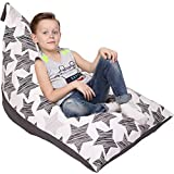 Stuffed Animal Storage Bean Bag - Cover Only - Large Triangle Beanbag Chair for Kids - 180+ Plush Toys Holder - Floor Pillows Organizer for Boys and Girls - 100% Cotton Canvas - Hatch Stars