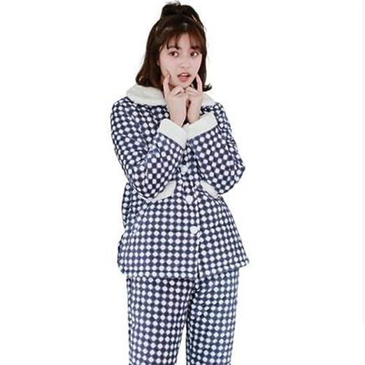 Pijama para el invierno chaqueta cuadros pantalón liso
