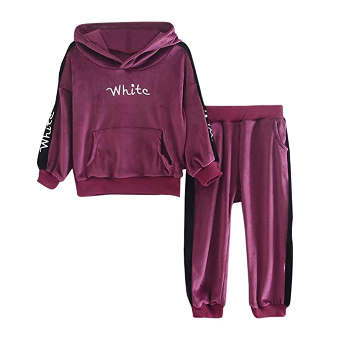 2PCS//Set Toddler Kids Baby Girls Velvet Hooded Tops+Long Pants Clothes Outfits