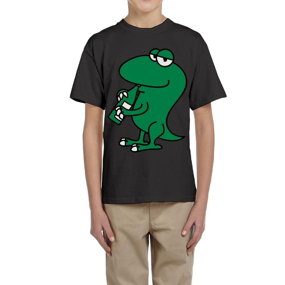 Fzjy Wnx Boys Short-Sleeve Shirts Crew-Neck Green Lizard Drinking