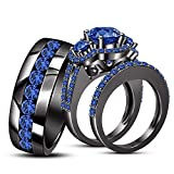 TVS- JEWELS Vintage Engagement Trio Ring Set Round Cut Gemstone With 925 Silver Black Rhodium Plated (Blue Sapphire)