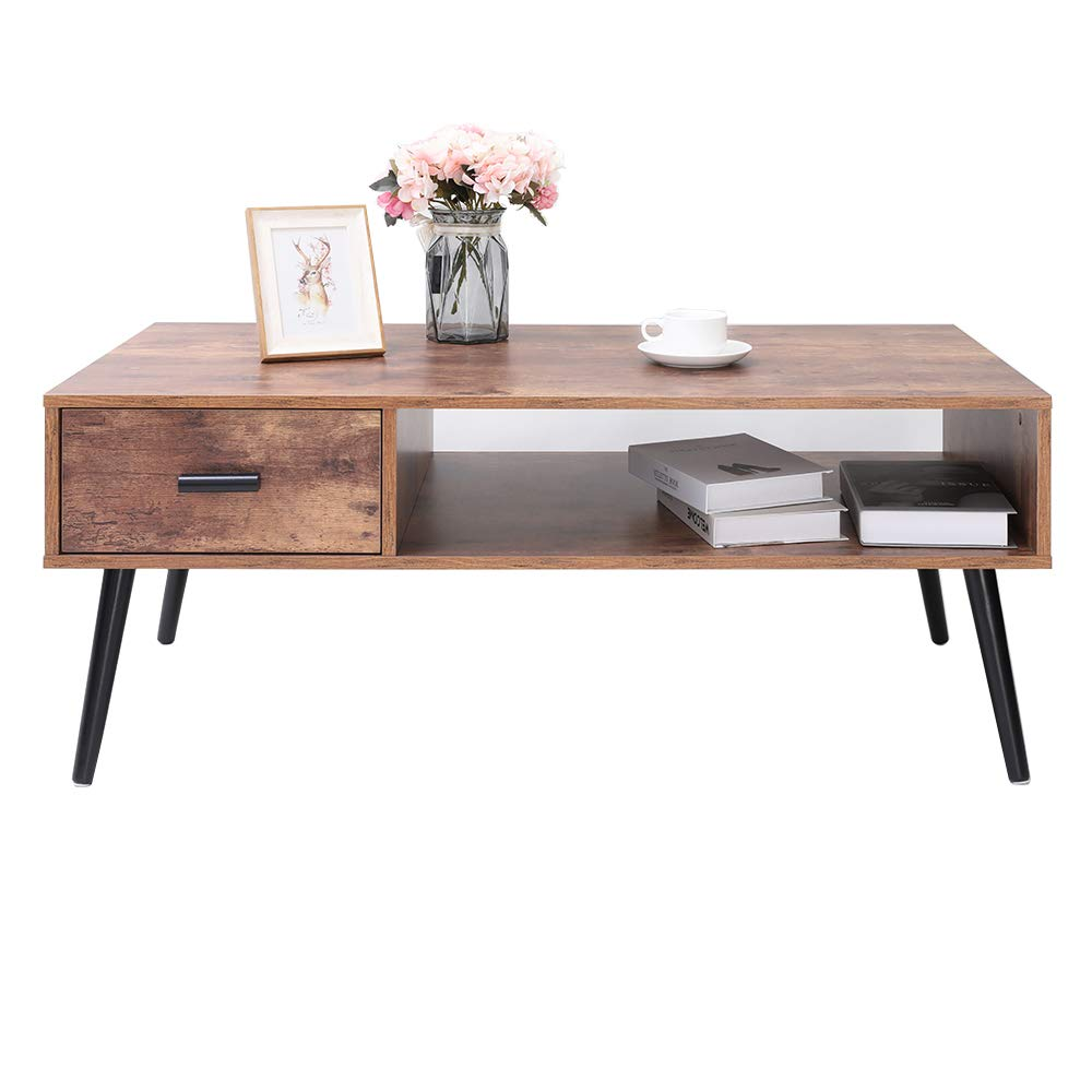 IWELL Mid-Century Coffee Table with 1 Drawer and Storage Shelf for Living Room, Cocktail Table, TV Table, Rectangular Sofa Table, Office Table, Solid Elegant Functional Table, Easy Assembly CFZ004F by Iwell