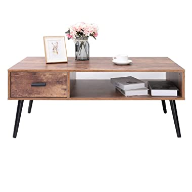 IWELL Mid-Century Modern Coffee Table with 1 Drawer and Storage Shelf for Living Room, Cocktail Table, TV Table, Rectangular Sofa Table, Office Table, Solid Elegant Functional Table CFZ004F