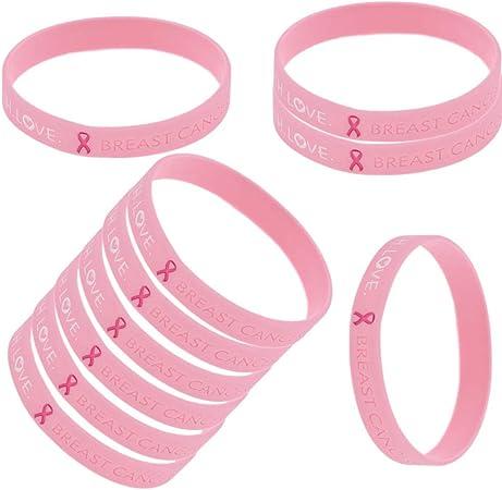 YNuth 10 x Pulsera Silicona de Conciencia del Cáncer de Mama de Coraje Fe y Amor Color Rosado Cancer de Mama Pulsera: Amazon.es: Hogar