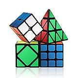 Roxenda Speed Cube Set, Magic Cube Set of 2x2x2 3x3x3 Skewb Pyramid Smooth Puzzle Cube