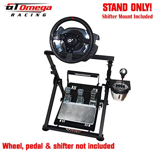 (GT Omega APEX Racing Wheel Stand for Thrustmaster T500/T300 Gaming Steering Wheel - Pedals & TH8A Shifter Mount - Supporting Fanatec PS4 Xbox PC - Tilt-Adjustable to Ultimate Sim Racing Experience )