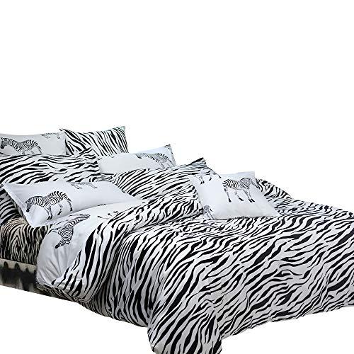 TEALP Duvet Cover Set Cute Animal Printed Black Bedding Boys and Girls (No Comforter, 1 Duvet Cover + 2 Pillowcase, Twin) (Twin Zebra Duvet Cover)