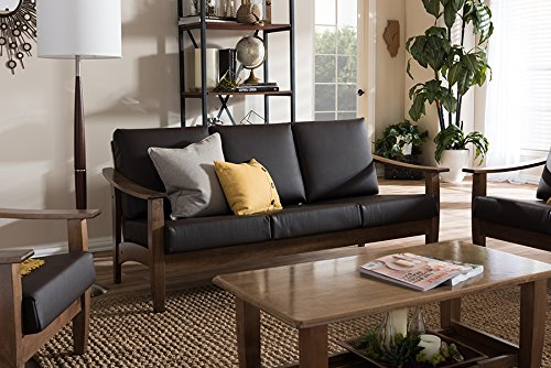 Baxton Studio Pierce Faux Leather Sofa in Dark Brown