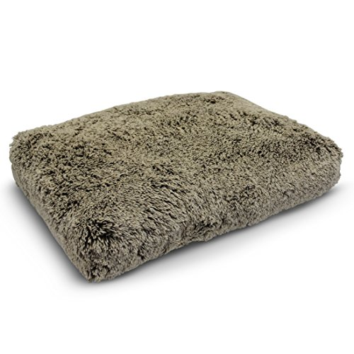 PUP IQ Luxe Pup Coco Chenille Pillow Dog Bed, Large Size, Machine Washable, Made in the USA, Premium AdaptaLoft Support by PUP IQ