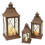 Set of 3 Cottage-Style Brown Pillar Candle Holder Lanterns 24''