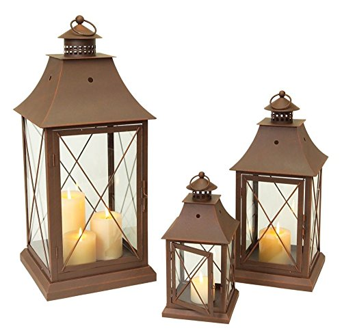 - Set of 3 Cottage-Style Brown Pillar Candle Holder Lanterns 24