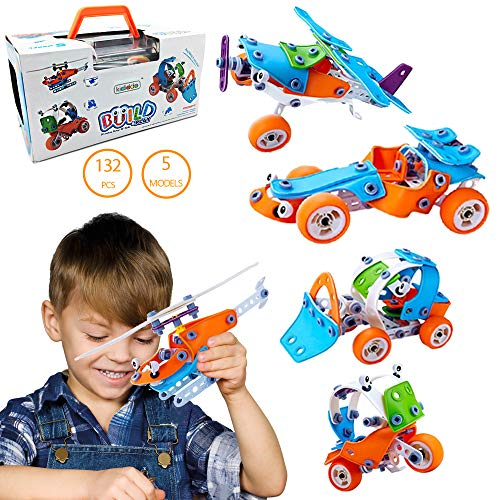 132 Snap - 132 PCS 5-in-1 Building Toy Kit| Fun Creative Construction STEM Building Erector Set | Learning Basic & Life Skills Toys for Kids Age 7 8 9 10+ Year Old Boys & Girls, Best DIY Build & Play Gift