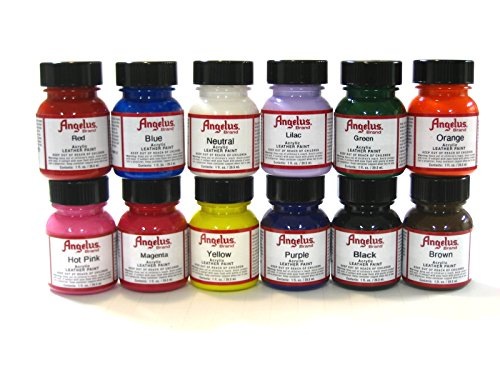 Angelus Brand Acrylic Paint Starter Kit 12 1oz Leather Vinyl