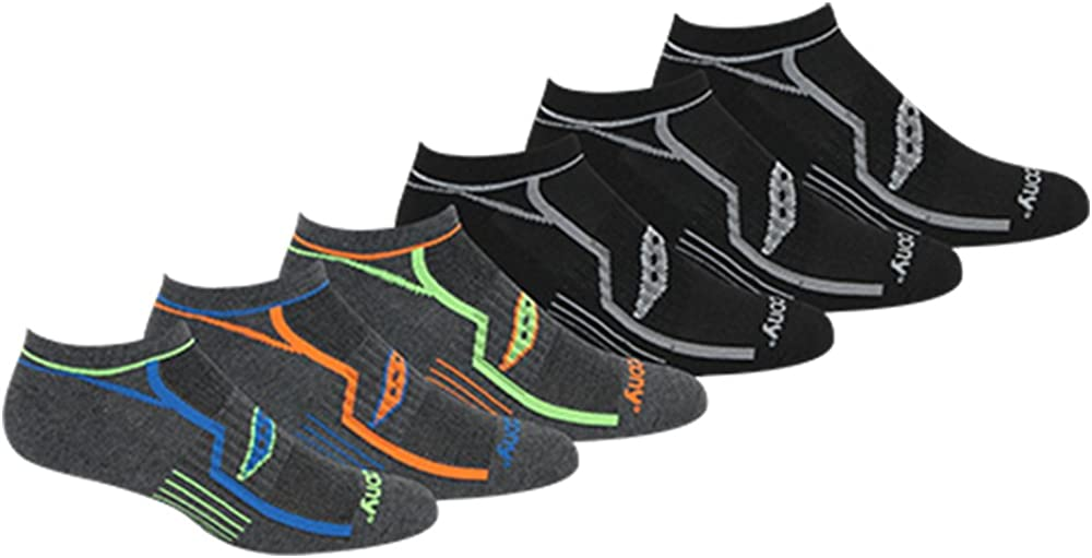 Saucony Men's Multi-Pack Bolt Performance Comfort Fit No-Show Socks at  Men's Clothing store