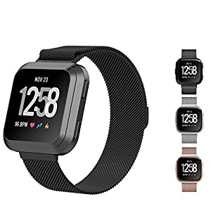 Fitbit Versa Bands for Women Men, Dream Travel Milanese Loop Stainless Steel Strap Replacement Bracelet with Magnet Lock Wristband For Fitbit Versa Smart Fitness Watch